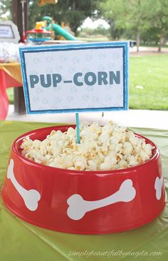 Simply Beautiful By Angela: Paw Patrol Birthday Party. Food-Pupcorn Popcorn