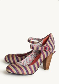I could refashion some pumps this way-a little fabric, mod podge, and you could add strap easily enough The Right Stripes Heels By Poetic Licence at #Ruche