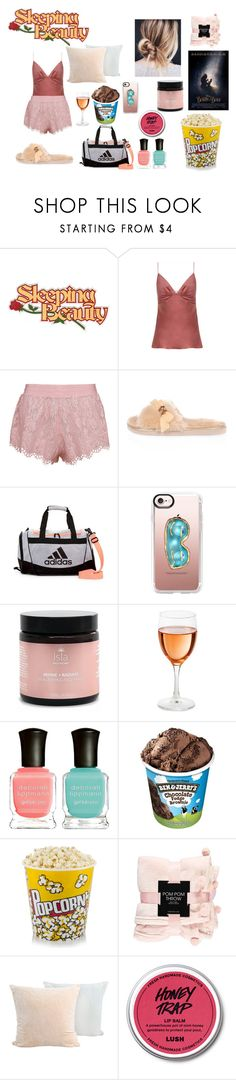 """""""Girls Night"""" by becccax ❤ liked on Polyvore featuring Zimmermann, River Island, adidas, Casetify, Isla Apothecary, Deborah Lippmann and Forever 21"""