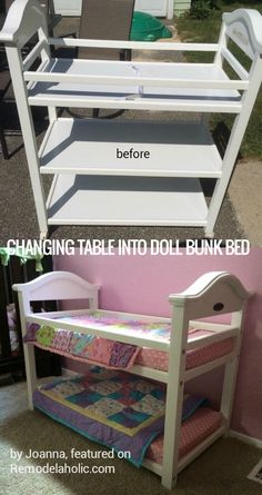 upcycle an old changing table into a doll bunk bed, cheap and easy…