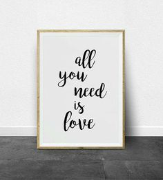 Calligraphy Print, All You Need Is Love, Unique Jewelry, Handmade Gifts, Prints, Etsy, Home Decor, Kid Craft Gifts, Decoration Home