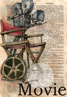 PRINT:  Movie Mixed Media Drawing on Distressed, Dictionary Page