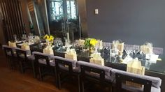 Gifts and yellow decor at a baby shower brunch I organized. Yellow and green centerpieces  and yummy homemade cake pops.