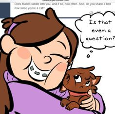 """Q&A with the cute fart! XD awwww """"is that even a question?"""" Awe dippurr ur too sweet!! #Gravityfallscats"""