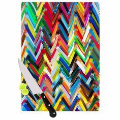 Kess InHouse Frederic Levy-Hadida 'Chevrons' Rainbow Cutting Board