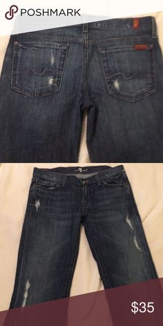 7FAM boot cut jeans Tastefully distressed jeans in perfect condition. Make an offer! 7 For All Mankind Jeans Boot Cut