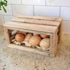 The Egg Storage Box – a practical yet stylish way to store eggs. Hand made from recycled pallets with a hinged lid , this storage box can comfortably store a dozen eggs and it will look great in any kitchen! Handmade in NZ