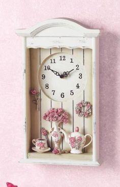 Victorian Tea Set Shadow Box Wall Clock Cottage Floral Antique 3D French Decor