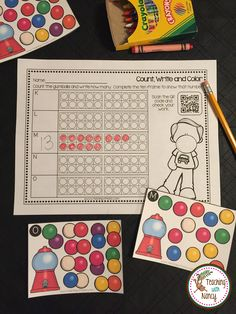 Gumball Math Stations  Working with numbers 1-20. Addition facts, before and after numbers, number dictation and more.