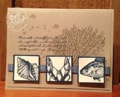 Beth's fabulous card uses the By the Tide set. Love the trio of stamped squares and the pewter embosses fan coral.