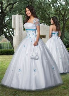 Ball Gown Strapless with Appliques Floor-length Tulle quniceanera dress QD051