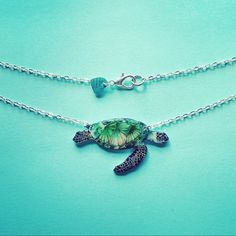 Green sea turtle necklace, high gloss finish. Perfect gift for any ocean lover or marine biology student.