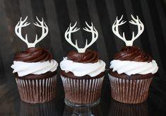 100 ciervos cornamenta Cupcake Toppers por ThickandThinDesigns