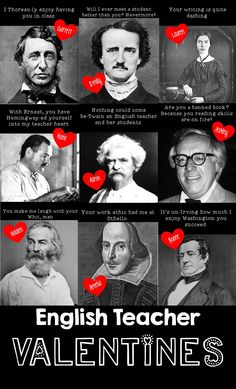 Funny Valentine's Day Teacher puns for English teachers with famous writers teacher gift TEACHER MEME - Valentine's Day English Teacher Puns Teacher Valentine, Funny Valentine, Valentines, Education English, Teaching English, English Teacher Humor, English Teachers, Teacher Humour, Teaching Humor