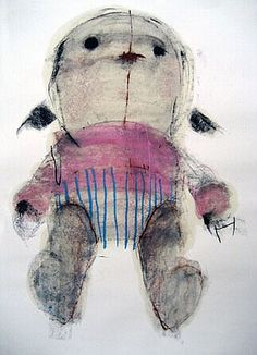 """Luca Lanzi Drawing for sculpture """"Fetucci"""" or Doll"""