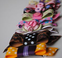 DIY Hair Clips - Definitely making these since I have lots of ribbons & buttons at home