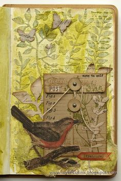 Sizzix Tutorial | Botanical Pocket Page by Anna-Karin, art journal page made with Tim Holtz dies, stamps and papers.