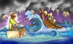 En la tormenta, aunque no lo veamos, Jesús nos sostiene. Jesus Cartoon, Bible Coloring Pages, My Jesus, Bible Stories, Bible Art, God Is Good, School Notebooks, Christian, Illustration