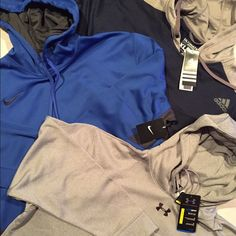 3 for $133 Under Armour, Nike & Adidas Hoodies UNDER ARMOUR- Gray Mens XL Fleece Hoodie. This is a heavy and thus warm hoodie, and as always with Under Armour, it's very high quality! Smooth on the outside with a comfortable and warm fleece lining on the inside.  NIKE - Blue Mens XL Therma-FIT brushed back fabric that keeps the heat in and the cold out.  ADIDAS - Navy Mens XL Adidas pullover fleece hoodie.  No negotiations, this is the lowest I can go, I will not respond to any negotiations…