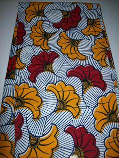 6 yards classique Floral print tissu / tissu imprimé de cire / africain / tissus… African Textiles, African Fabric, African Dress, Textile Patterns, Textile Art, Style Africain, Latest African Fashion Dresses, Ivoire, Repeating Patterns