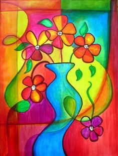 ACEO Pizazz - hand embellished print flowers vase