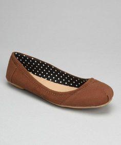 Polka Dot Lined Brown Flats.