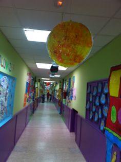 Pasillo y el sistema solar niños de 5 años