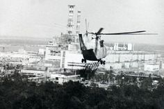 A fire extinguishing helicopter is approaching the the exploded reactor of Chernobyl emitting deadly radioactive material. Many pilots and firemen died.