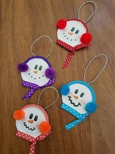 Baby its cold outside - or at least I wish it was. Polka-dot ribbon for scarf and coordinating pom poms for ear muffs. Multiple colors available. The holidays are my favorite time of year. Christmas Ornament Crafts, Snowman Crafts, Christmas Crafts For Kids, Kids Christmas, Holiday Crafts, Crafts For Christmas Decorations, Angel Ornaments, Snowman Ornaments, Snowmen