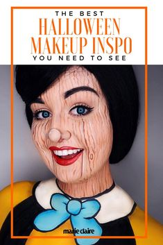 or puppet face paint idea for a Halloween costume.Pinocchio or puppet face paint idea for a Halloween costume. Cool Halloween Makeup, Halloween Kostüm, Holidays Halloween, Halloween Costumes, School Looks, Pinocchio, Makeup Trends, Makeup Ideas, Makeup Inspo