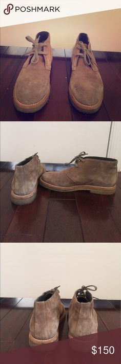 Vince Clay Suede Chukka Boot in Flint Color This is a flat round/almond toe Chukka boot from Vince. They have been worn a couple of times but are in good condition! They have not been sprayed or conditioned with water proofing spray. Additional details include: Suede upper, lace-up vamp, crepe rubber heel, flannel lining, leather insole and crepe rubber sole. The heel is 1 inch high, platform sole is 3/4 inches, shaft height is 3 1/2 inches and calf circumference is 7 1/2 inches. Vince Shoes…