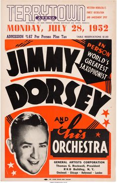 Jimmy Dorsey Terrytown Arena Concert Poster (1952). Rare... Music | Lot #89189 | Heritage Auctions