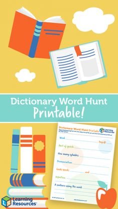 Dictionary Day Word Hunt - Learning Resources Blog New Words, Cool Words, Toddler Scavenger Hunt, Wizard School, Dictionary Words, Parts Of Speech, Syllable, Learning Resources, Literacy
