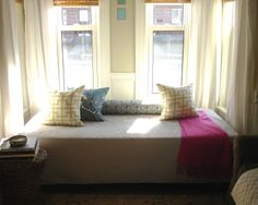 DIY daybed inspiration. boxspring for support, ikea foam mattress for comfort.