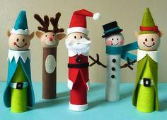 Personagens de Natal feitos com rolo de papel higiênico, bolinhas de isopor, feltro e muita criatividade!