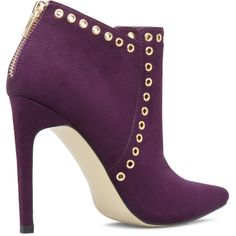 ShoeDazzle Booties Jorden Womens Purple ❤ liked on Polyvore featuring shoes, boots, ankle booties, purple booties, short boots, denim boots, bootie boots and purple boots