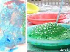 mit Kindern: Seifenblasen auf Papier art: bubble art with children: soap bubbles on paper # kid's art: bubble art Diy For Teens, Diy For Kids, Crafts For Kids, Paper Flowers Craft, Flower Crafts, Fun Crafts, Diy And Crafts, Paper Crafts, Tape Art