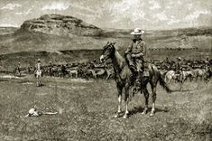 Texas cowboys round-up TX range horses cattle wranglers cattle camp 1901 photo