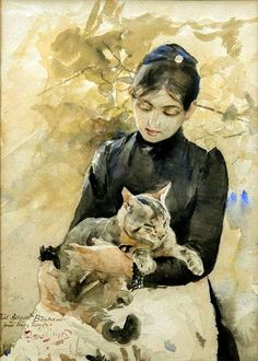 Bruno Liljefors_Seated ''Woman with Cat''.
