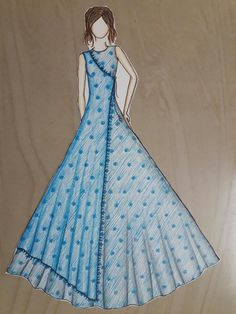 Net fabric drawn by shalini. Dress Design Drawing, Dress Design Sketches, Fashion Design Sketchbook, Fashion Design Drawings, Dress Drawing, Fashion Sketches, Fashion Figure Drawing, Fashion Drawing Dresses, Fashion Illustration Dresses