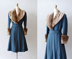 vintage 1930s coat / princess coat / fur / Winfield House coat. $285.00, via Etsy.