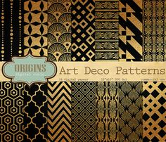 Art Deco Digital Paper Black and Gold Patterns - Backgrounds for Invitations, Weddings, Scrapbooking - Commercial use instant download