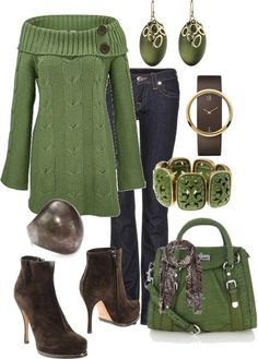 Having a casual Thanksgiving get-together but still want to look stunning? This is a great outfit for a sharp, but easy Thanksgiving day. With a rich autumn green and eye catching jewelry, this is the perfect outfit for a warm Thanksgiving with family and Style Work, Mode Style, Style Me, Green Style, Komplette Outfits, Casual Outfits, Polyvore Outfits, Fashion Outfits, Fall Winter Outfits