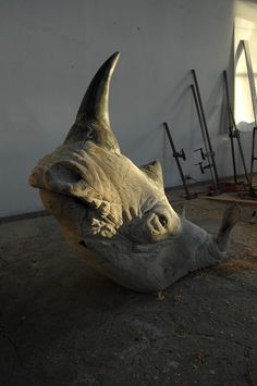 "Quentin Garel, Rhinoceros II, 2012, Bronze, 86½"" x 45½"" x 23½""  #art #sculpture #bdg"