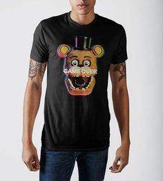 Five Nights at Freddy's Game Over Graphic Print Black T-shirt