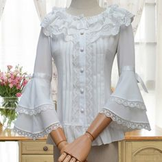 White Lolita Gothic Ruffled Collar Long Flare Sleeve Blouse Women Blouses Chiffon Shirt Blusas Femininas Used In Matching Corset Cute Blouses, Shirt Blouses, Blouses For Women, Lace Shirts, Women's Shirts, Lolita Mode, Sleeves Designs For Dresses, Gothic Lolita Dress, Retro Mode