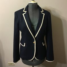 Banana Republic Jacket Size 14 Nicely  fitted,navy blue and off white jacket inspired by horse riders jacket Size 14 fits true to size Banana Republic Jackets & Coats