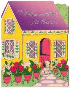Image result for vintage easter cards house