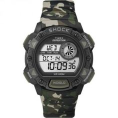 Timex Expedition Base Shock Chrono Alarm Timer Watch - Camo