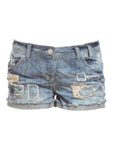 Patchwork Denim Jean Shorts